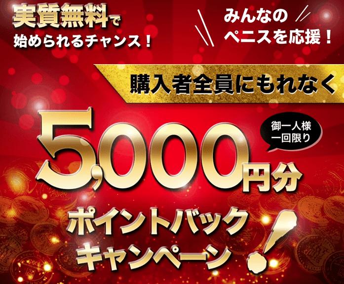 初回購入は5000円分のポイントキャッシュバック